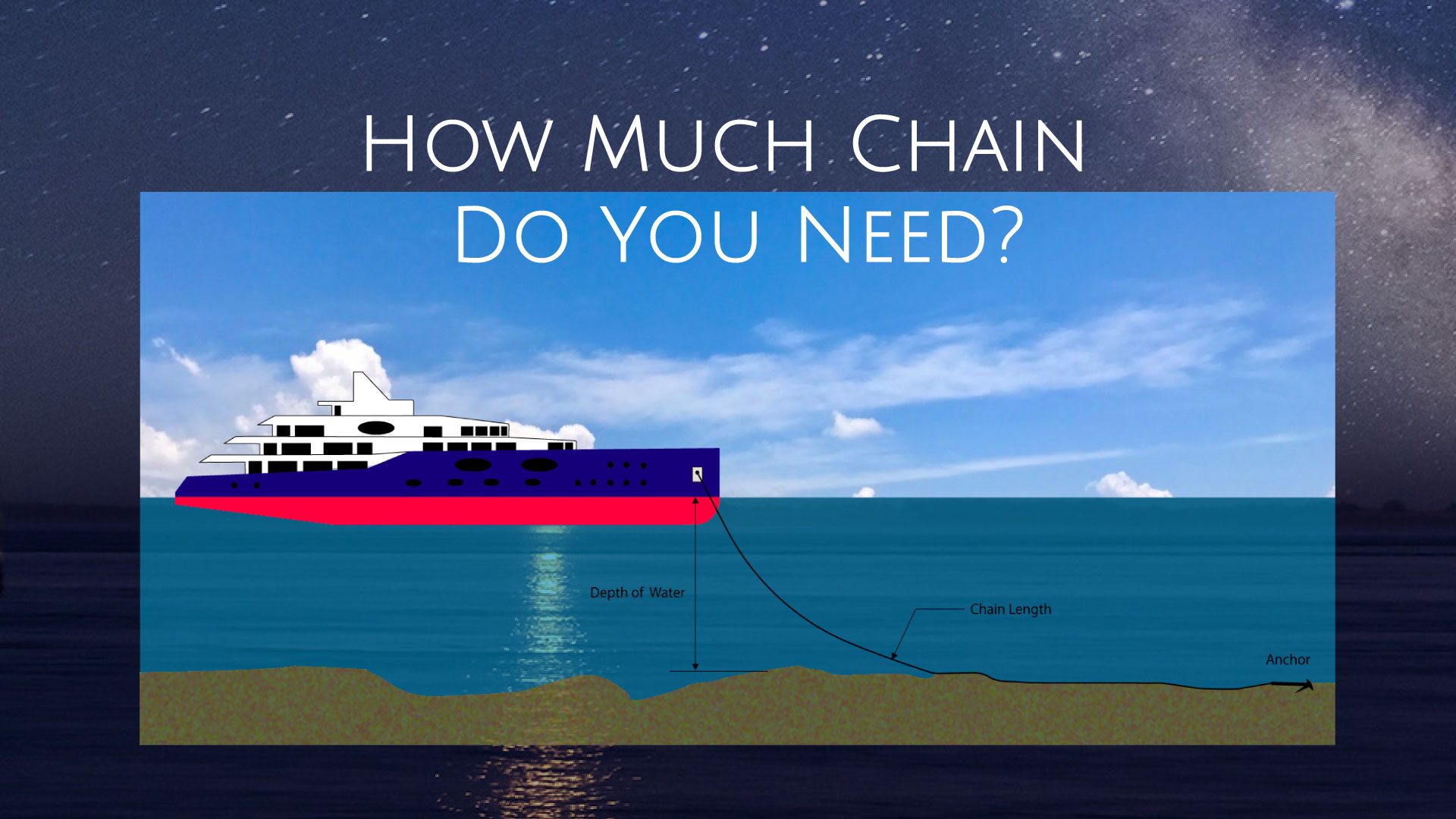 superyacht and anchor chain